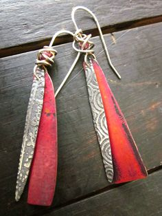 Sterling and Copper Shard Earrings by celiefago on Etsy, $125.00