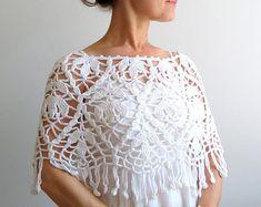 A la venta, de poncho blanco, crochet capa blanca, boda cabo, poncho de algodón, lacy poncho, poncho con flecos, envío rápido, listo para SHİP.