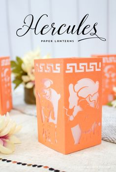 """Hercules Paper Lantern - Designs By Miss Mandee. """"So did they give you a name along with all those rippling pectorals?"""" See Meg, Hades, The Muses, and Hercules himself on this on-of-a-kind paper lantern design! Download the cut file for FREE!!"""
