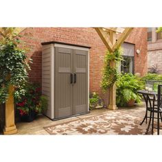 x 2 ft. 5 in. Large Vertical Storage Shed 1887156 at The Home Depot - Mobile Home Depot Storage Sheds, Building A Storage Shed, Diy Storage Shed, Patio Storage, Outside Storage, Corner Storage, Storage Ideas, Storage Closets, Smart Storage