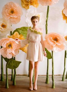 Giant Paper Flower Garden | 21 Stunning DIY Wedding Photo Booth Backdrops