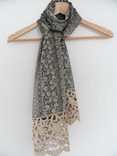 scarf patterned jacquard scarf guipure scarf by theflowerdesign, $23.00