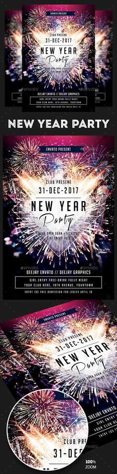 New Year Flyer And Poster Bundle  Event Flyers Template And