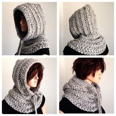 hooded by africancrab Crochet Hooded Cowl, Crochet Cowl Free Pattern, Crochet Shawl, Crochet Stitches, Knit Crochet, Loom Knitting, Hand Knitting, Knitting Patterns, Crochet Patterns