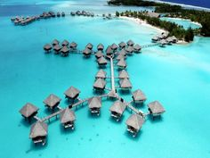 Absolute paradise! The Le Meridien Bora Bora in Bora Bora, French Polynesia has overwater bungalows over clear blue waters with amazing views.