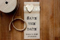 Einladungskarten - Save the date Karten Jute Spitze Vintage I - ein Designerstück von Goldiges-Stuebchen bei DaWanda