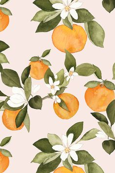 Orange blossoms on pink by mintpeony available on fabric, wallpaper, and gift wrap.