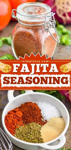 What your dinners need! This quick and easy Fajita Seasoning Recipe is the BEST! Check out some main dishes you can use this homemade condiment on, including chicken, steak, and shrimp! Save this pin! Fajita Seasoning Packet, Taco Seasoning Easy, Homemade Fajita Seasoning, Homemade Tacos, Seasoning Mixes, Seasoning Recipe, Baked Chicken Fajitas, Chicken Steak, Other Recipes