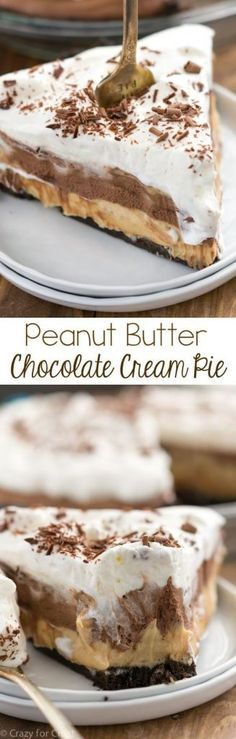 No Bake Peanut Butter Chocolate Cream Pie Serves 8-10