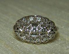Vintage Cluster Diamond Ring White Gold by GlimmersinTime Buy Diamond Ring, Vintage Diamond Rings, Diamond Cluster Ring, Diamond Engagement Rings, Diamond Jewelry, Real Gold Jewelry, Fine Jewelry, Jewlery, White Gold Diamonds