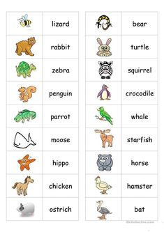 Animal Dominoes - English ESL Worksheets for distance learning and physical classrooms Learning English For Kids, Kids English, English Words, English Lessons, Teaching English, Learn English, English Language, Kids Learning, English Games