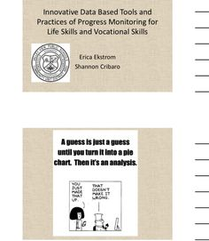 "Handout-""Progress Monitoring for Life and Vocational Skills"" Illinois Alliance of Administrators of Special Education Fall Conference handout 9/12. Main Site http://www.iaase.org/static.asp?path=3938  Also session 27 B Monitoring Mini Grant Summary  Pinned by SOS Inc. Resources http://pinterest.com/sostherapy"