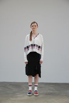 Block check v-neck Pullover