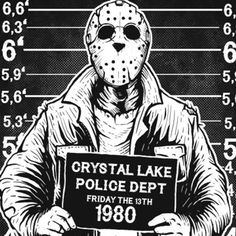 Friday Night Mugshot T-Shirt Funny Crystal Lake Retro Cult Camp The Horror Scary Humor Gee Horror Icons, Horror Films, Ink Tattoo Studio, Horror Movie Characters, Friday The 13th, Jason Friday, Happy Friday, Arte Horror, Scary Movies