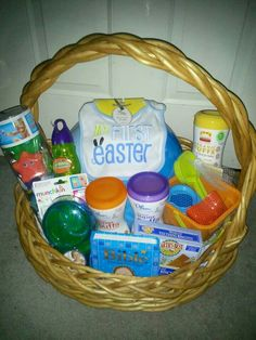 My son first easter basket used a baby pool cute pinterest jaxons 1st easter basket negle Choice Image