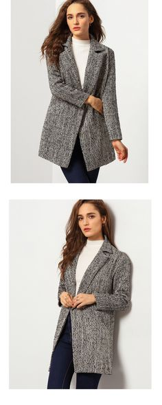 Inspired from the suit ,Plain grey car coat make  women more handsome beside feminine temperament. From shein .