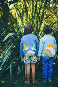 Tootsa Sunrise Quilted Dark Denim Jacket - Birds & Rainbow Retro Baby Clothes - Baby Boy clothes - Danish Baby Clothes - Smafolk - Toddler clothing - Baby Clothing - Baby clothes Online