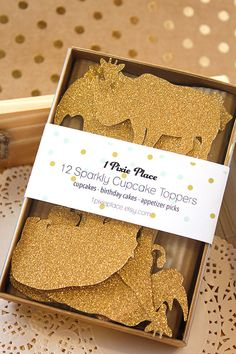 (Gret packaging!) Gold Glitter Cupcake Toppers Jungle Safari Animals by 1PixiePlace