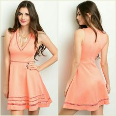 Coming Soon! Peach Dress with crochet details at neckline, waist and hem.  Fabric Content: 90% Polyester 10% Spandex Dresses