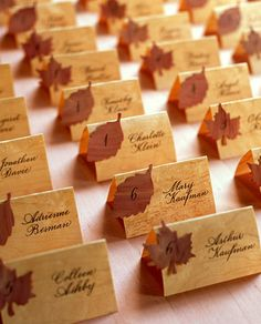 escort cards place cards faux bois and autumn leaves