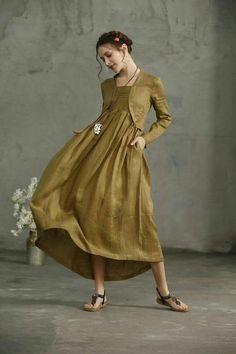 Linen Tunic Dress, Linen Dresses, Make Your Own Dress, Skater Dress, Prom Dress, Trending Outfits, Lady, Clothes, Linen Fabric