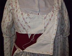 Bodice front with bib down