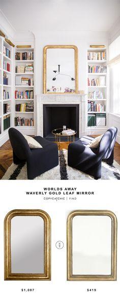 Worlds Away Waverly Gold Leaf Mirror