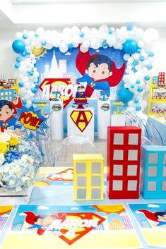 Superman Birthday Party on Kara's Party Ideas Superman Birthday Party, Boys 1st Birthday Party Ideas, Baby Boy 1st Birthday, Superhero Party, Avenger Party, Superman Party Decorations, Birthday Party Decorations, Superman Baby Shower, Super Man