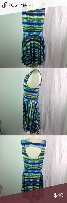 """Cynthia Rowley Blue Green Open Back Knit Dress L Cynthia Rowley Blue Green Open Back Knit Dress L. Perfect summer dress. Bright and fun.   Material Content: Rayon/Spandex  Chest: 36-42"""" Length: 39""""  Please ask questions before you buy, thanks! Cynthia Rowley Dresses Midi"""