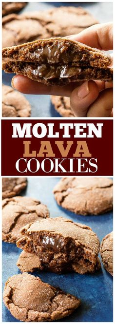 These Molten Lava Cookies have a crisp chocolate cookie on the outside and a gooey chocolate center inside. Chocolate lovers will love these Molten Lava Cookies. MOLTEN LAVA COOKIES You know I love Best Cake Recipes, Cookie Recipes, Dessert Recipes, Favorite Recipes, Dessert Ideas, Appetizer Recipes, Sweet Recipes, Chocolate Desserts, Chocolate Chip Cookies