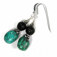 Genuine Turquoise Earrings Lava Rock Gemstone Sterling Silver Dangle | Covergirlbeads - Jewelry on ArtFire