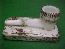 EAPG VICTORIAN MILK GLASS SMOKING PIPE MATCH TOOTHPICK HOLDER EXCELLENT PAINT
