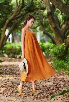 Tunic Dress Maxi Sundress Contrast Color long di camelliatune