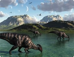 Metal Print: A Group of Parasaurolophus Dinosaurs Feed from a Freshwater Lake by Stocktrek Images : Dinosaur Posters, Dinosaur Art, Prehistoric World, Prehistoric Creatures, Reptiles, Dinosaur Pictures, Jurassic World, Jurassic Park, The Good Dinosaur