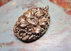 Silver Locket Flower Photo Pendant Large by IfindUseekVintage, $35.00