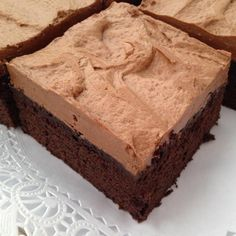 Chocolate is a favorite all year round! This dessert is a cross between a moist brownie and a chocolate cake. Frosted with mocha frosting, it's a hard combinati #Chocolate