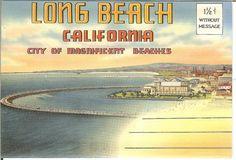 Vintage Long Beach California Postcard Book