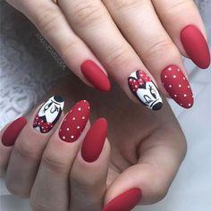 70 Nail Design Ideas for Acrylic Glitter Gel Nail Page 22 of 76 Soflyme Disney Nail Designs, Nail Designs Spring, Nail Art Designs, Nails Design, Minnie Mouse Nails, Mickey Mouse Nails, Trendy Nails, Cute Nails, My Nails