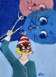 NFAC aceo cat face mask balloon girl    Orig. Ursin painting