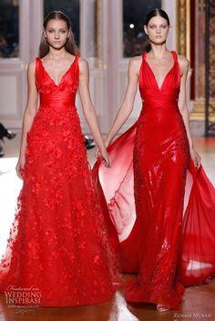 Vestidos para bodas en colores rojos de Zuhair Murad. #BodaColorRojo