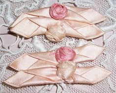 Pair ANTIQUE Pink Silk RIBBON WORK Rosette/Rose Applique