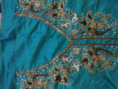 Hand embroidery on suit neck and border. For details Please contact me...9650101255