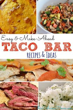 Taco Bar ideas. The BEST recipes for an easy and delicious Mexican Buffet Menu. #tacobar #mexicanbuffet Taco Bar Recipes, Barbecue Recipes, Mexican Food Recipes, Beef Recipes, Bbq, Grilling Recipes, Party Recipes, Summer Recipes, Salad Recipes