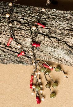 Red coral tassel necklace/ OOAK statement necklace/ shaman