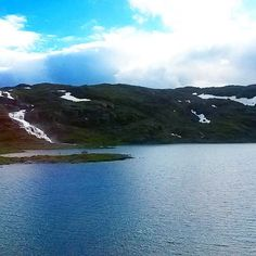 """""""Snow and waterfall on the top of the mountain at 1400 m #travel #norway #adventure #snow #waterfall #mountains #mountain"""""""