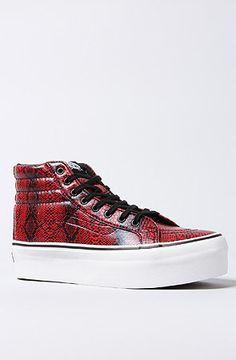 Vans Footwear Women's The Sk8-Hi Platform Sneaker in Black and Pink Snake, Sneakers:  Snakeskin leather high top platform sneaker