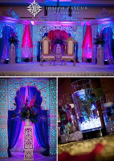 Wedding ceremony and reception at Silver Creek Valley Country Club Marriott Purple Teal Fuschia Jewel Peacock - - Wedding Mandap, Wedding Stage, Wedding Night, Our Wedding, Wedding Ceremony, Wedding Country, Stage Decorations, Indian Wedding Decorations, Wedding Themes
