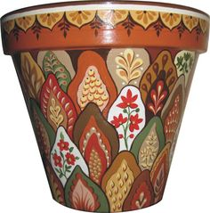 Hand Painted Terracotta Pot -