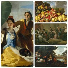 Un ejemplo del Rococó español: 'El Quitasol' de Francisco de Goya; 'Naturaleza muerta con granadas, manzanas, azaroles y uvas en un paisaje' (1771) de Luis Egidio Meléndez (Museo del Prado); 'Ensayo de una comedia' (1772-73) de Luis Paret y Alcázar; 'Primavera' (1730-35) de Antoni Viladomat.
