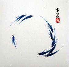 "Chinese small painting birds flowers fish koi carp 6.7x6.7"" watercolor xieyi art"